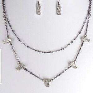 Jewelry - Layered W/ Stone Necklace Set And Stone Earrings